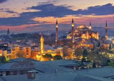 Istanbul Panorama. Panoramic image of Hagia Sophia in Istanbul, Turkey during sunrise.-Istanbul