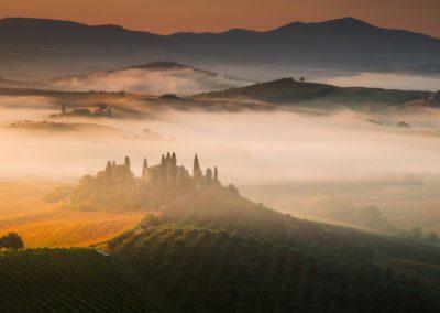 Tuscany Italy mist