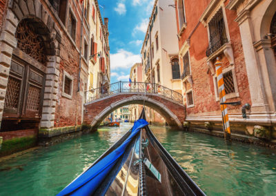 View from gondola during the ride through the canals of Venice in Italy- Venice