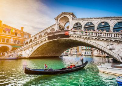 Gondola with Rialto Bridge at sunset, Venice, Italy-Venice